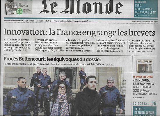 LE MONDE n°21808 27/02/2015  Procès Bettencourt/ Innovation française/ Hezbollah/ Evolution de l'hygiène/ Fabrice Humbert