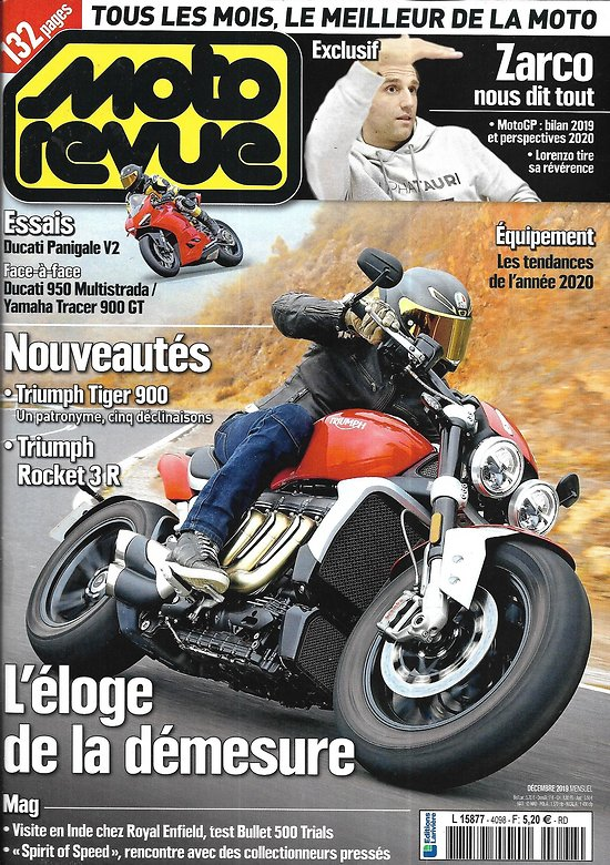 MOTO REVUE n°4098 décembre 2019  Triumph Tiger 900/ Zarco nous dit tout/ En Italie en Ducati/ Royal Enfield en Inde