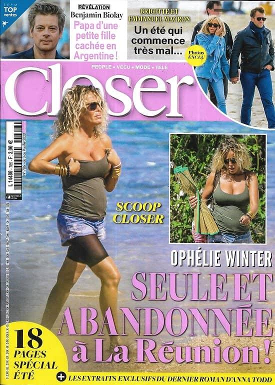 CLOSER n°786 03/07/2020  Ophélie Winter/ Brigitte & Emmanuel Macron/ Benjamin Biolay/ harry & Meghan/ Brad Pitt & Angelina Jolie/ Anna Todd