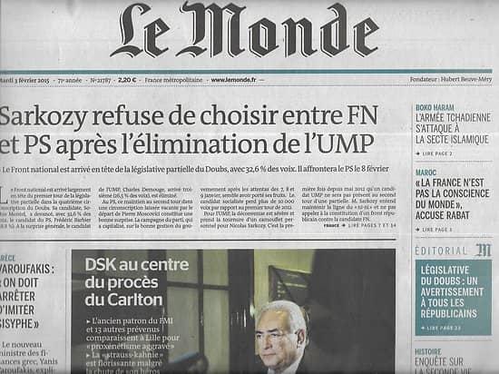 LE MONDE n°21787 03/02/2015 Dsk & procès Carlton/ Ministre grec Varoufakis/ Conseillers nazis/ Cybercriminalité
