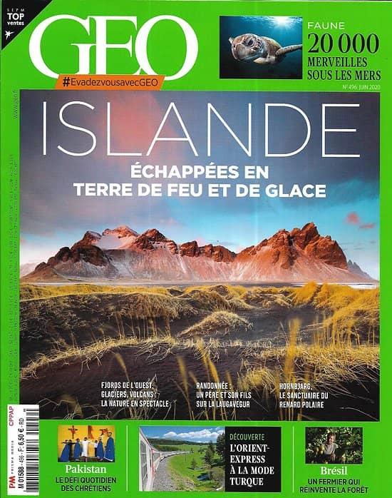 GEO n°496 juin 2020  Islande, échappée en terre de feu et de glace/ Merveilles sous les mers