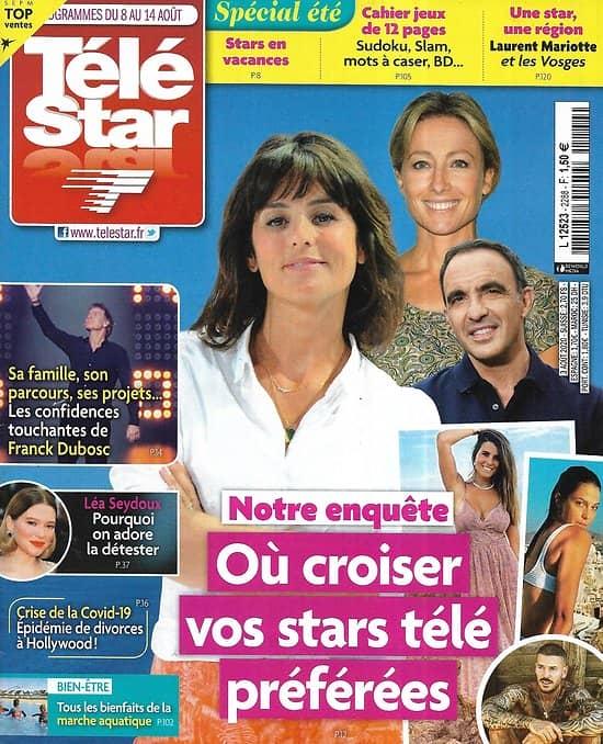 TELE STAR n°2288 08/08/2020  Où croiser vos stars télé cet été?/ Franck Dubosc/ Léa Seydoux/ Patrick Swayze/ Laurent Mariotte