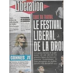 LIBERATION n°10877 12/05/2016  Code du travail attaqué par la droite/ Cannes: George Miller, Virginie Efira/ Foot: Deschamps/ Laëtitia Milot