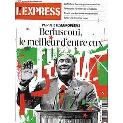 L'EXPRESS n°3607 20/08/2020  Populistes/ Berlusconi/ Syrie, province russe/ Eisenhower/ Télétravail/ Reprise de l'épidémie