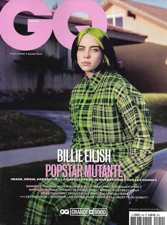 GQ n°142 septembre 2020  Billie Eilish, popstar mutante/ Le monde d'après/ Nigo, maître du streetwear