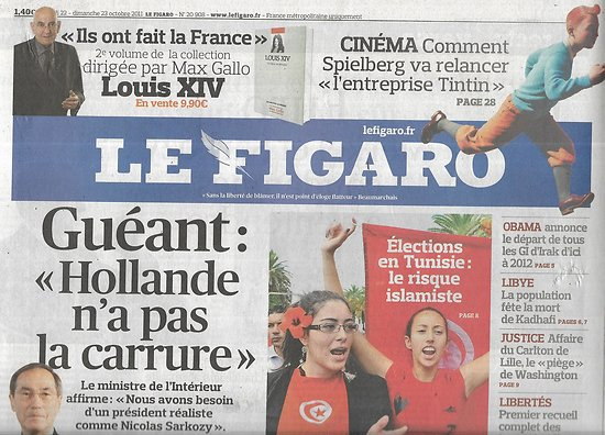 LE FIGARO n°20908 22/10/2011  Tintin/ Claude Guéant/ Mort de Kadhafi/ Elections en Tunisie/ Les All Blacks/ Salon du chocolat/ Crise de l'Euro