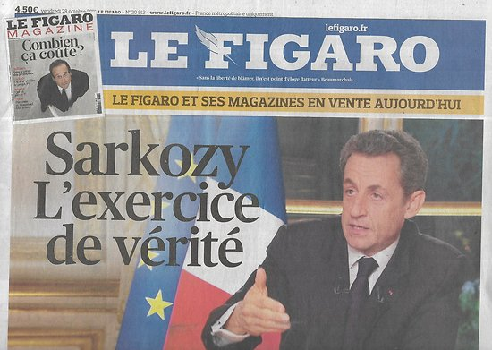LE FIGARO n°20913 28/10/2011  Sarkozy: l'exercice de vérité/ Chanteuses: la relève/ Bolchoï/ Design, sauveur du monde/ Un accord pour l'Europe