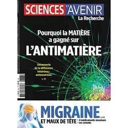 SCIENCES ET AVENIR n°883 septembre 2020  Sur la piste de l'antimatière/ Soulager les migraines/ Epidémie: la rentrée/ Art celte