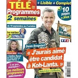 """TELE PROGRAMMES n°11 19/09/2020  Denis Brogniart """"Koh-Lanta""""/ Cécile Bois """"Candice Renoir""""/ Alain-Fabien Delon"""