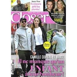 CLOSER n°798 25/09/2020  Camille Combal/ Kanye West/ Loana/ Jennifer Lopez/ Julien Doré/ Gaspard Gantzer