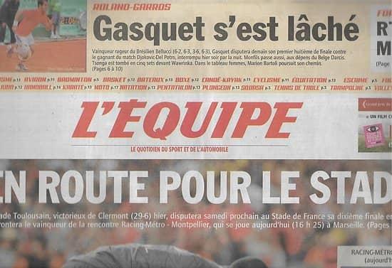 L'EQUIPE n°20773 1 28/05/2011 Rugby: Stade Toulousain/ Racing Métro vs Montpellier/ Richard Gasquet/ Marion Bartoli