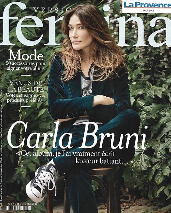 VERSION FEMINA n°966 05/10/2020  Carla Bruni/ Spécial accessoires/ Salariés aidants/ cap sur la Sicile/ Spécial teint