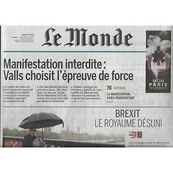 LE MONDE n°22220 23/06/2016  Brexit: le royaume désuni/ Euro 2016/ Equipe de France/ Spécial Vins/ Gaspard Proust