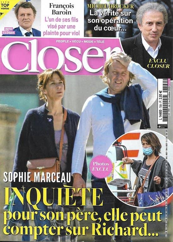 CLOSER n°799 02/10/2020  Sophie Marceau/ François Baroin/ Michel Drucker/ Kit Harington & Rose Leslie/ Gwyneth Paltrow/ Carla Bruni