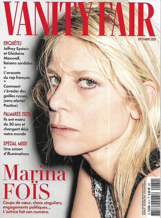 VANITY FAIR n°82 septembre 2020  Marina Foïs/ L'affaire Epstein & Maxwell/ Palmarès des moins de 30 ans/ Raymond Depardon