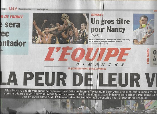 L'EQUIPE n°20788 12/06/2011 Allan McNish/ Gameiro au PSG/ Lewis Hamilton/ Basket: Nancy/ Contador/ Yohan Cabaye/ Tsonga vs Murray