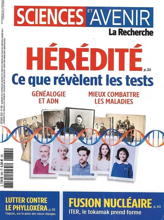 SCIENCES ET AVENIR n°884 octobre 2020  Hérédité/ Fusion nucléaire/ Phylloxéra/ Epidémie 2è vague/ Fonte pergélisol/ Troubles du sommeil