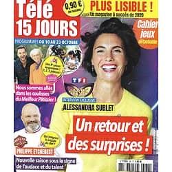 "TELE 15 JOURS n°36 10/10/2020  Alessandra Sublet/ Philippe Etchebest/ ""Meilleur Pâtissier""/ Tom Leeb/ Heather Tom"