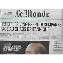 LE MONDE n°22224 28/06/2016  Conséquences du Brexit/ Alain Juppé/ Griezmann/ Multinationales/ Jack Ma/ Espagne