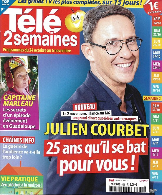 "TELE 2 SEMAINES n°439 24/10/2020  Julien Courbet/ ""Capitaine Marleau""/ Philippe Etchebest/ Eddy Mitchell/ Chaînes d'info"