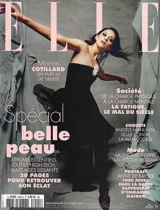 ELLE n°3905 23/10/2020  Marion Cotillard, un parfum de liberté/ Spécial belle peau/ Le créateur/ Matiussi/ Seule contre la mafia/ Spécial lingerie