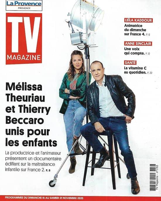 """TV MAGAZINE 15/11/2020 n°1763  Mélissa Theuriau & Thierry Beccaro unis pour les enfants/ Leïla Kaddour/ Anne Sinclair/ """"Bodyguard"""""""