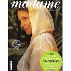 MADAME FIGARO n°23595 (n°1870) 26/06/2020  Juliette Binoche, son manifeste éthique/ Spécial Un Monde écoresponsable