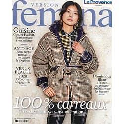 VERSION FEMINA n°973 23/11/2020  Mode 100% carreaux / Dominique Blanc / Flaubert dans nos assiettes / Souplesse, l'anti-âge / L'essouflement
