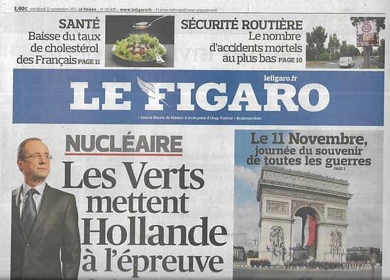 LE FIGARO n°20925 11/11/2011  Les Verts testent Hollande/ 11 Novembre/ Crise de la dette/ Photo: Gursky/ Littérature chinoise
