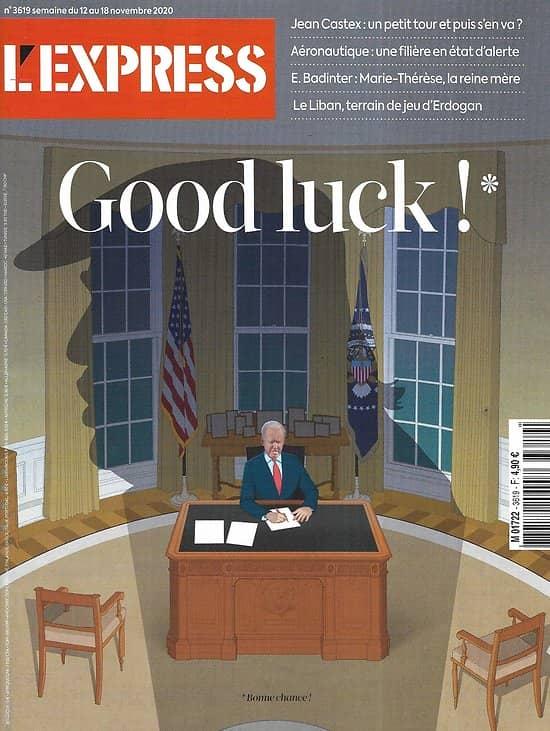 L'EXPRESS n°3619 12/11/2020  Good luck Joe Biden!/ Payer moins d'impôts/ Nouveau visage du terrorisme/ Révoltés du confinement