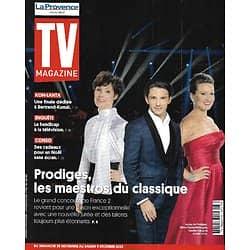 """TV MAGAZINE 29/11/2020 n°1765  """"Prodiges"""" les maestros du classique/ Bertrand-Kamal/ Handicap à la télé/ Valentina"""