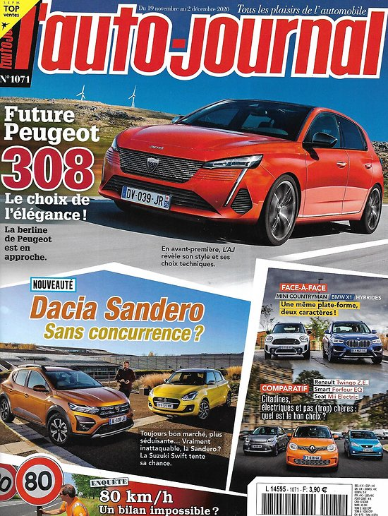L'AUTO-JOURNAL n°1071 19/11/2020  Future Peugeot 308/ Dacia Sandero vs Suzuki Swift/ Mini Countryman vs BMW X1 hybrides