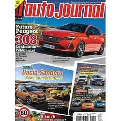 L'AUTO-JOURNAL n°1071 19/11/2020  Future Peugeot 308/ Dacia Sandero vs Suzuki Swift/ Mini Countryman vs BMW X1 hybrides