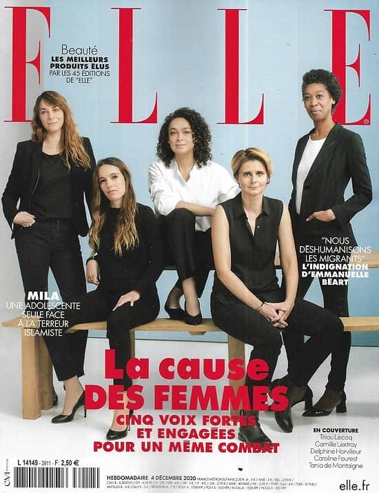 ELLE n°3911 04/12/2020  La cause des femmes: 5 vois fortes et engagées/ Judit Polgar, la boss des échecs/ Gafam, géants verts?/ L'indignation d'Emmanuelle Béart