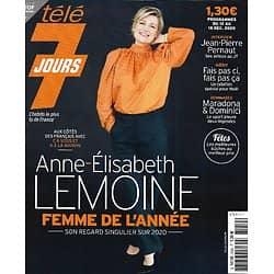 """TELE 7 JOURS n°3159 12/12/2020  Anne-Elisabeth Lemoine/ Jean-Pierre Pernaut/ Viggo Mortensen/ Maradona/ Dominici/ """"Fais pas ci, fais pas ça""""/ Meryl Streep"""