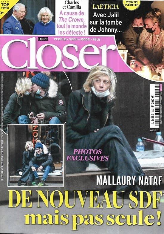 CLOSER n°809 11/12/2020  Mallaury Nataf/ Laeticia Hallyday/ Charles & Camilla/ Gwyneth Paltrow/ Valéry Giscard d'Estaing/ Elliot Page/ Tom Cruise