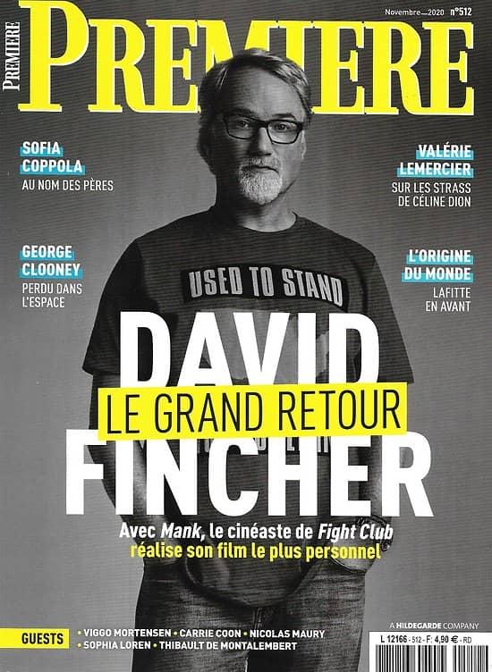 "PREMIERE n°512 novembre 2020  David Fincher ""Mank""/ George Clooney/ Sofia Coppola/ Valérie Lemercier"