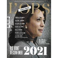 L'OBS n°2930 23/12/2020  Ils vont déconfiner 2021: Kamala Harris, Thomas Pesquet, le pape, Netflix / 2020 par Depardon/ Martin Amis/ Elisabeth Badinter/ Hélène Cixous