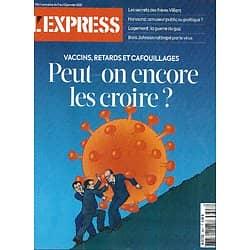 L'EXPRESS n°3627 07/01/2021  Vaccins: Peut-on les croire?/ Secrets des frères Villiers/ Logement: guerre du gaz