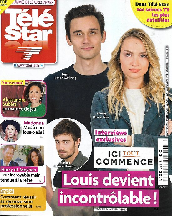 """TELE STAR n°2311 16/01/2021 """"Ici tout commence""""/ Alessandra Sublet/ Madonna/ Harry & Meghan/ Jackie Chan/ Patrick Bruel"""