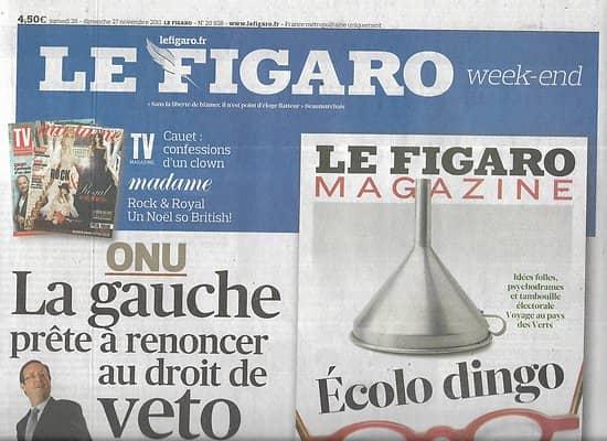 LE FIGARO n°20938 26/11/2011  Droit de veto à l'ONU/ Energies Etats-Unis/ Conférence climat/ Citroën DS5/ Expos avant nchères
