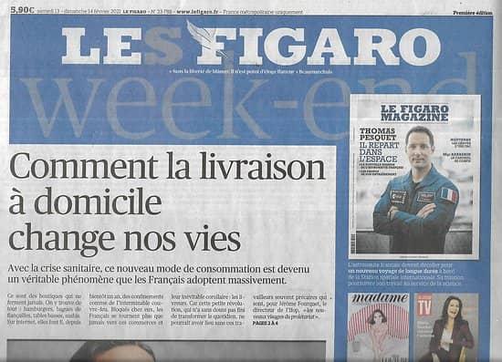 LE FIGARO n°23789 14/02/2021  Livraison à domicile: elle change nos vies/ Patrimoine: le cri d'alarme de Stéphane Bern/ Antoine Dupont/ Draghi fait l'unité italienne