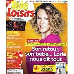 """TELE LOISIRS n°1824 13/02/2021 Exclusif: Lorie Pester/ Spécial """"Demain nous appartient""""/ Ingrid Chauvin/ Spécial Saint-Valentin"""