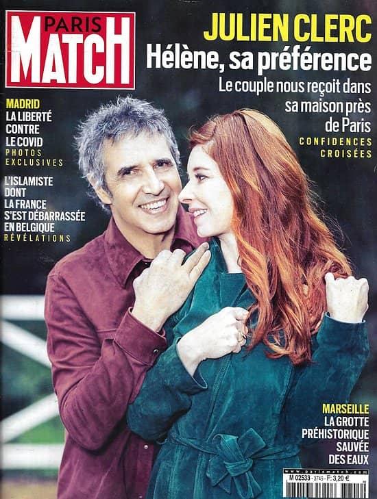 PARIS MATCH n°3745 11/02/2021  Julien Clerc: Hélène, sa préférence/ Birmanie, l'icône renversée/ La grotte Cosquer sauvée des eaux/ Madrid: liberté contre virus