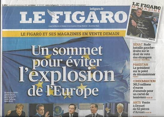 LE FIGARO n°20949 09/12/2011   Sommet de Bruxelles/ Big bang des horaires à la SNCF/ Noël en chansons/ Crise grecque & agences de notation