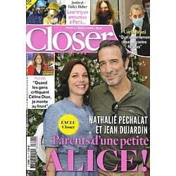 CLOSER n°821 05/03/2021 Jean Dujardin & Nathalie Péchalat/ Carla Bruni/ Justin & Hailey Bieber/ Golden Globes/ Nadège Beausson-Diagne