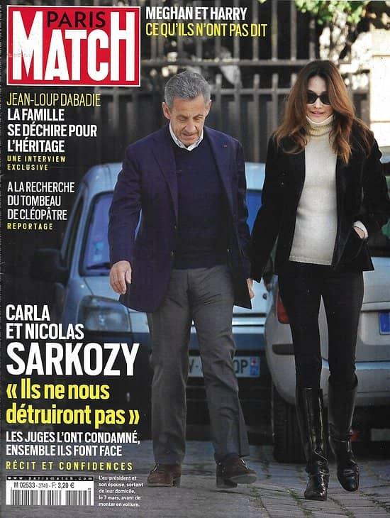PARIS MATCH n°3749 11/03/2021  Les Sarkozy font face/ Tombeau de Cléopâtre/ Meghan & Harry, ce qu'ils n'ont pas dit/ Bataille pour l'héritage de Dabadie