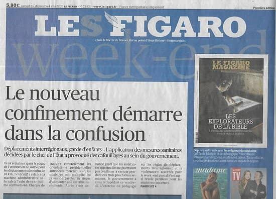 LE FIGARO n°23831 03/04/2021  Un nouveau confinement confus/ Le canal de Suez/ Musée du Quai-Branly-Jacques Chirac-Jean Nouvel