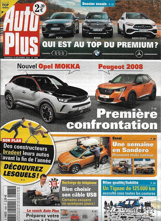 AUTO PLUS n°1685 18/12/2020  Opel Mokka vs Peugeot 2008/ Le top du premium/ Une semaine en Sandero
