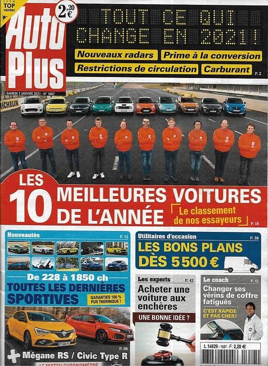 AUTO PLUS n°1687 02/01/2021  Les 10 meilleures voitures de l'année/ Les dernières sportives/ Utilitaires d'occasion
